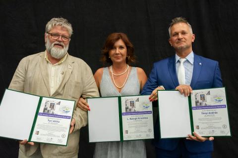 A 2019. évi díjazottak: Túri Attila Főépítészi Életmű Díj,  L. Balog Krisztina és Tényi András Év Főépítésze Díjasok. Fotó: Szabó Rőtszakállú Zsolt